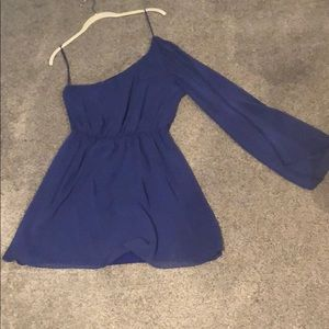 Blue lush one sleeve dress